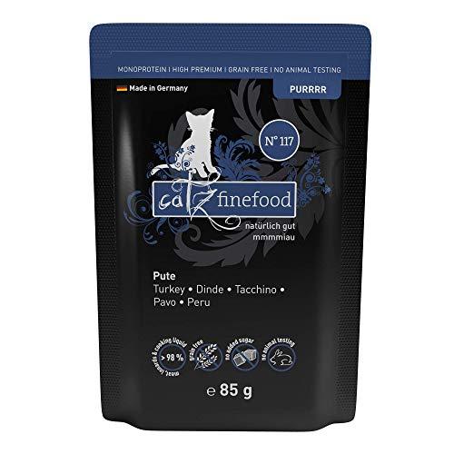 catz finefood Purrrr Pute Monoprotein Katzenfutter nass N° 117, für ernährungssensible Katzen, 70% Fleischanteil, 16 x 85g Beutel