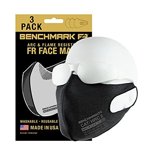 BENCHMARK FR Flame Resistant Face Mask, 3 Pack, CAT 2, NFPA 2112 (Black)