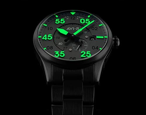 AV-4073-44 - Reloj automático para hombre, 42 mm, esfera gris, correa de acero gris