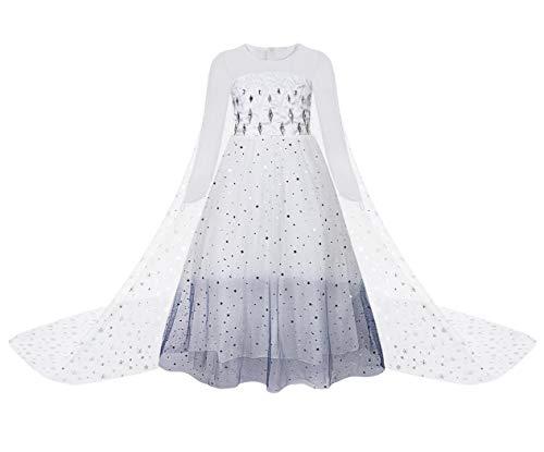 Jurebecia Traje de Princesa Vestido de niñas pequeñas Disfraz De Princesa para Niñas Traje de Fiesta de cumpleaños de Halloween Navidad Trajes de Cosplay Vestidos de Lentejuelas Blanco