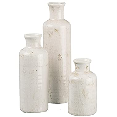 Sullivans Bottle-Style 3 Vase Set, Worn White
