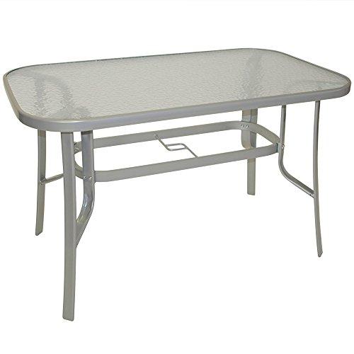 Gartentisch 70x120x73 cm mit Stahlgestell und Sicherheitsglasscheibe