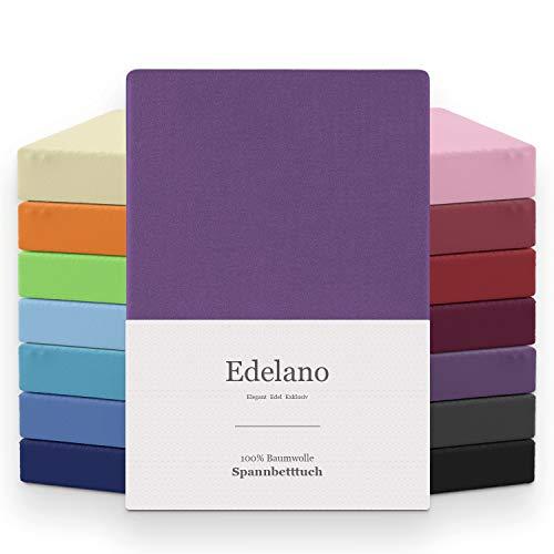 MELUNDA - Sábana Bajera Ajustable 90x200 / 100x200 cm - Violeta - 100% Algodón - Certificado Oeko-Tex - Hipoalergénico Sin químicos