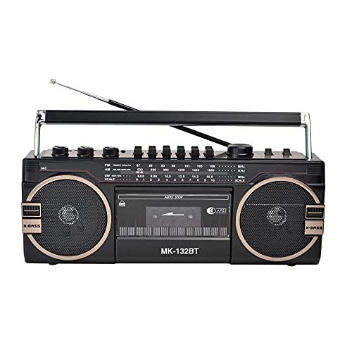 KOIJWWF Máquina de Cintas, Radio, Vidrio 80s Radio portátil Retro nostálgico, Cassette, grabadora