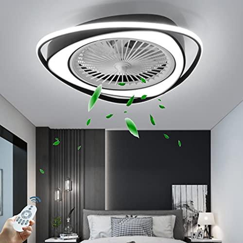 Ventilador Moderno LED Luz De Techo Lámpara De Ventilador Invisible Con Control Remoto Triángulo Creativo Ventilador De Techo Luz Dormitorio Ventilador De Techo Luz De Techo 38W