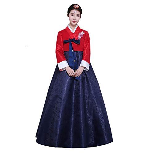 XINFU Women Korean Traditional Long Sleeve Classic Hanboks Dress Cosplay Costume