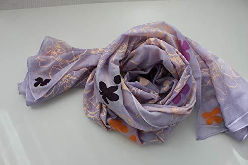 Schal Tuch Halstuch Flieder Lila Apricot neonorange Violett