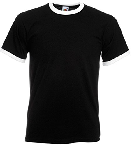 Fruit of the Loom - T-shirt - - Uni - Crew - Manches courtes Homme - Multicolore - Noir/blanc - Medium