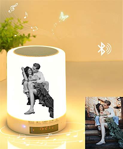 Luz De Noche Bluetooth Personalizada De 7 Colores Personalizado Música Reloj Despertador Lámpara Marco De Fotos Únicas De Aniversario Para El Día De La Madre Para Mujeres Y Hombres (Blanco Y Negro)