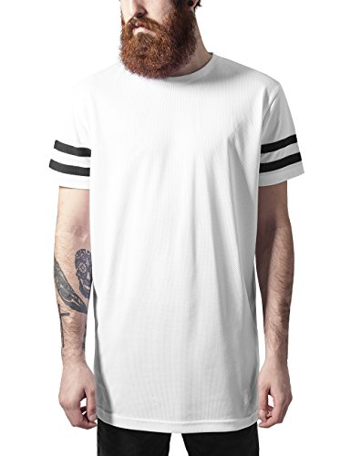 Urban Classics TB1236 Herren T-Shirt Stripe Mesh Tee, Gr. XX-Large, Mehrfarbig (wht/blk 224)
