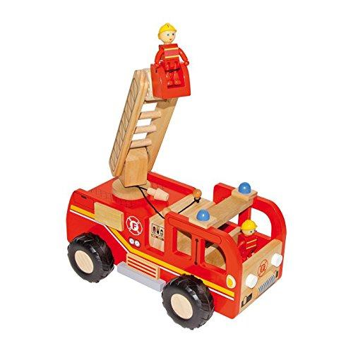 small foot 8509 Feuerwehrauto aus Holz, mit Drehleiter und Förderkorb, inkl. 2 Feuerwehrmann-Figuren, ab 3 Jahren