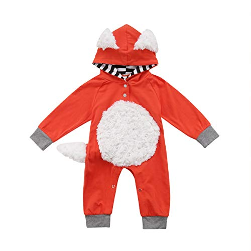 Newborn Infant Toddler Baby Girl/Boy Fox Long Sleeve Jumpsuit Hooded Romper Bodysuit Overall Fall Winter Outfit (70/0-6M, Orange+Grey)