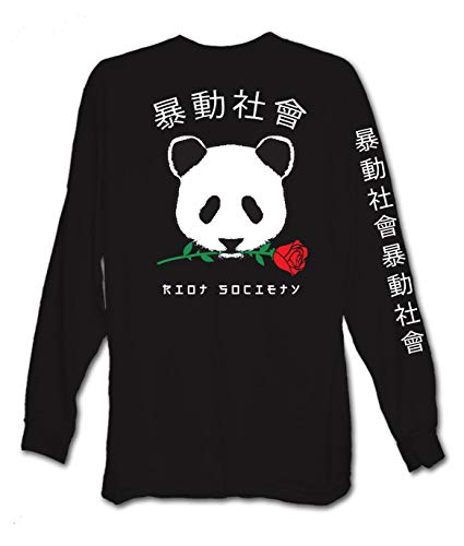 Riot Society Panda Rose Mens Long Sleeve T-Shirt - M