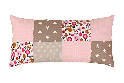 ULLENBOOM ® patchwork kussenhoes l 40x80 cm l katoenen kussenhoes voor sierkussens in de kinderkamer en babykamer I zand eekhoorntjes