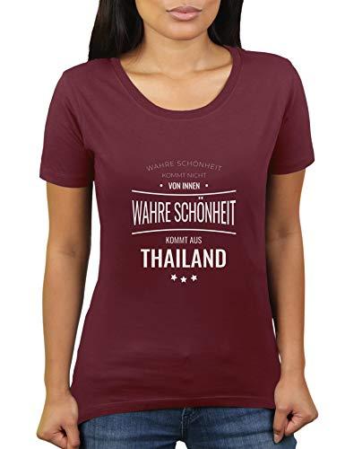 La verdadera belleza proviene de Tailandia, no desde el interior, Tailandia, Tailandia, camiseta de mujer de KaterLikoli. granate XXXL