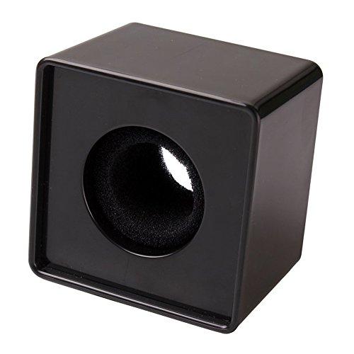 SODIAL 1pz Negro ABS Microfono Mini telefono Estacion de Bandera Logo Cubo Cuadrado de entrevista