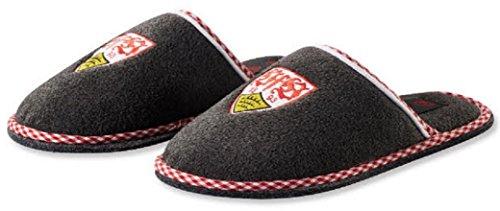 VFB Stuttgart Pantoffeln / Hausschuhe grau meliert mit Wappen verschiedene Größen von 36-46 (40)