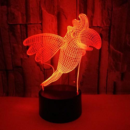 Kids 3D Illusion Light 3D Led Illusion Night Lamp 3D Led Lamp Bird Black Base 16 Colors Changing Touch Switch with Bluetooth Mobile App Control and USB Cable for Kids Christmas Gift
