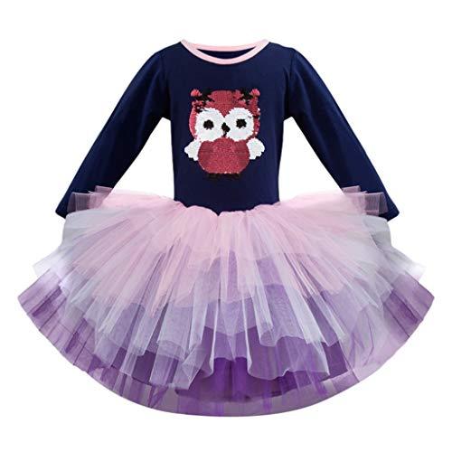 Baby Kinder Mädchen Organza Prinzessin Kleid Weihnachten Karneval Kostüm Partykleid Cartoon Eule Muster Cosplay Faschingskostüm Tüll Tutu Rock Abendkleid Niedlich Tier Drucken Festlich Kleid