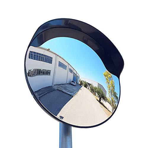 BXSZVOK Espejo De Tráfico Convexo, Prueba De La Intemperie Espejo De Seguridad Espejo De Vigilancia Espejo Panoramico para Garajes Confusos, Entradas A Patios Negro 60 Cm Al Aire Libre