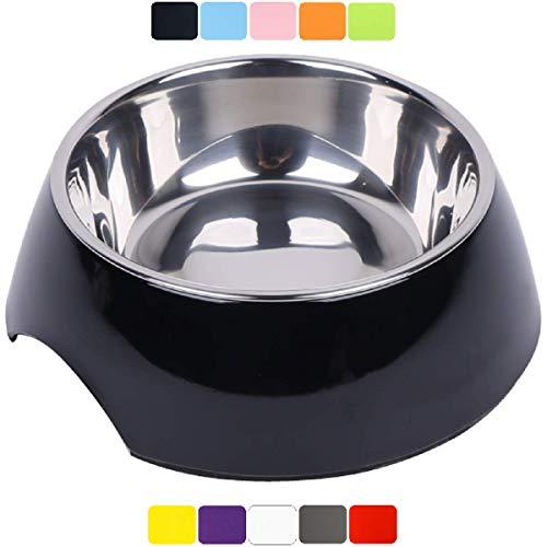 DDOXX Fressnapf, rutschfest | viele Farben & Größen | für kleine & große Hunde | Futter-Napf Katze | Hunde-Napf Hund | Katzen-Napf Edelstahl-Napf | Melamin-Napf | Schwarz, 160 ml