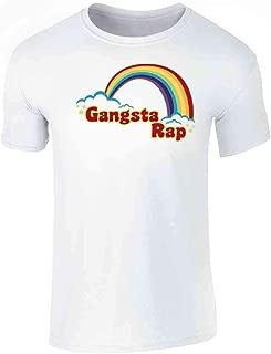 Gangsta Rap Retro Rainbow Funny Music Graphic Tee T-Shirt for Men