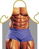Unbekannt Herren Grill-Schürze Bodybuilder Six-Pack Fun Koch-Schürze Küchen-Schürze geil Bedruckt Geschenk-Set mit Grillmeister-Urkunde