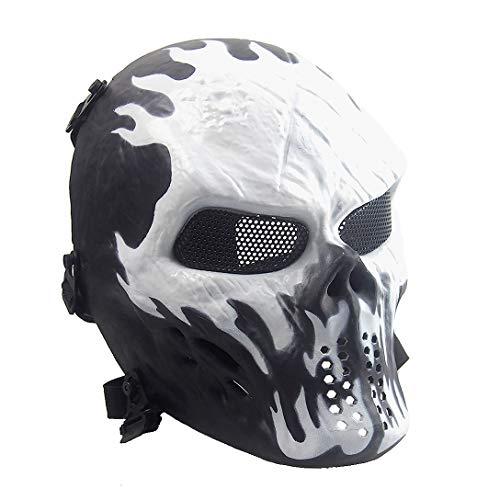 Sensong Airsoft Maske mit Metallgitter Augenschutz Halloween Skull Schutzmaske Taktische Full Face fur Paintball Softair CS Partyspiel Schwarz/Weiß
