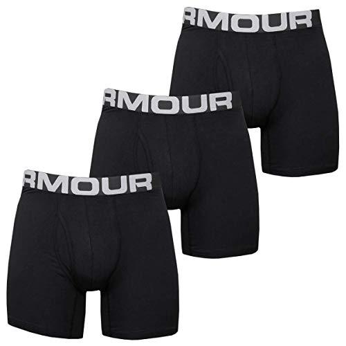 Under Armour Charged Cotton 6in 3 Pack, bóxers Ajustados Hombre, Negro (Black / Black / Black), M