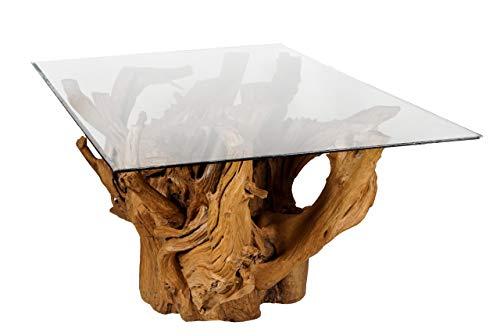 Windalf Großer Wurzeltisch mit Glasplatte RIHANNON 180 cm Landhaus Esstisch Großer Teak Rechteckig Handarbeit