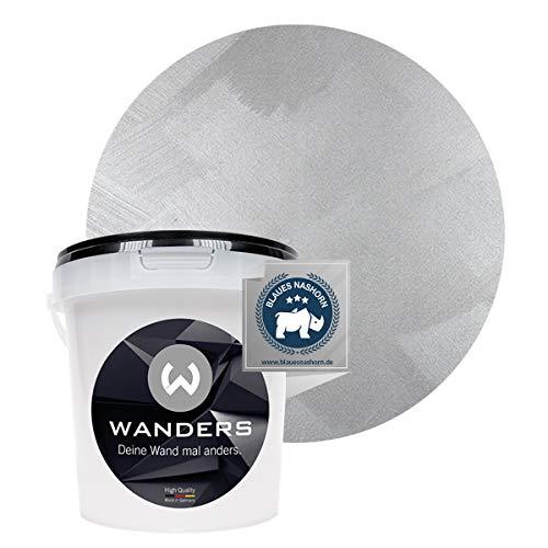 Wanders24® Edel-Metallic (1 Liter, reines Silber) Wandfarbe Metallic - zum Streichen im Metallic Look - in 5 edlen Farbtönen erhältlich - Made in Germany