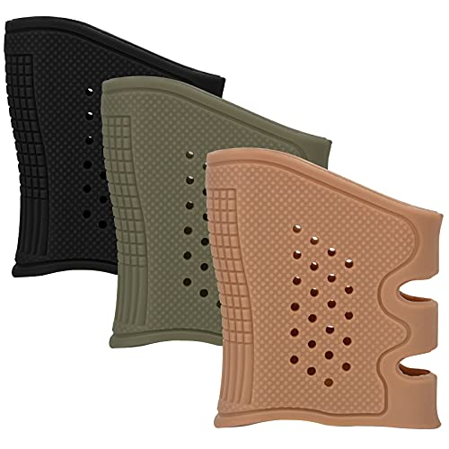 iunio Tactical Grip (3 Pack) Pistol Grip Sleeve Universal Silicone Rubber Grip Sleeve Non-Slip Sweat Resistant Rubber Sleeve Soft Silicone Grip for Glock and Other Pistol