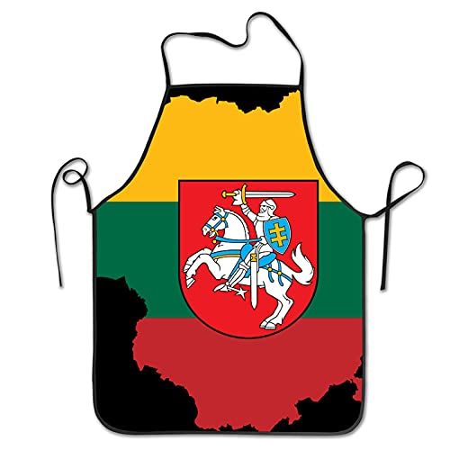 NIUPEE Latzschürze ohne Tasche litauische Flagge lustig niedlich Schürzen Kochen Küche BBQ Schürzen für Männer Frauen Koch Schwarz