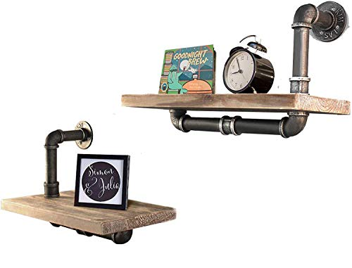 2 Layer Rustic Industrial Pipe Shelf Wall Shelving