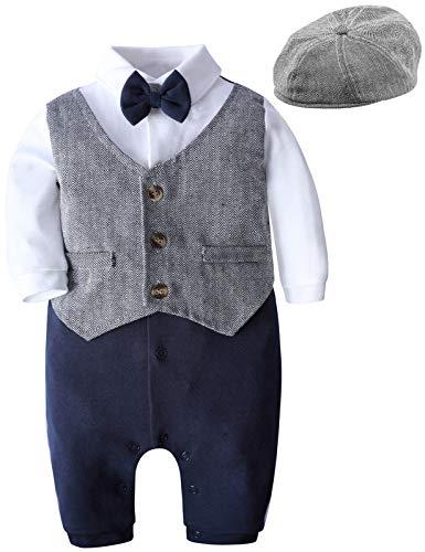 mintgreen Baby Anzug Junge Strampler, Neugeborenes Tauf-Outfit Gentleman Hochzeit Passen, Grau, 3-6 Monate