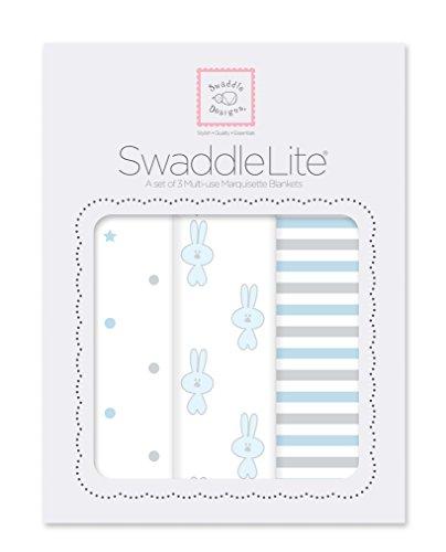 SwaddleDesigns SwaddleLite, Set of 3 Cotton Marquisette Swaddle Blankets, Premium Cotton Muslin, Pastel Blue Little Bunnie Lite