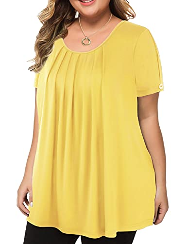 LINJOU Women's Plus Size Tops Short Sleeve Flowy Shirts Casual Blouses Tunic Tops Yellow