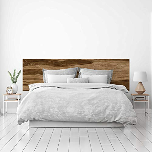 MEGADECOR Cabecero Cama PVC Decorativo Económico Textura Madera Corte Transversal Castaño Varios Tamaños (150 cm x 60 cm)