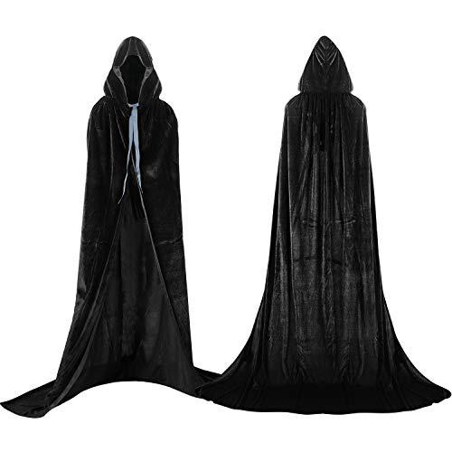 Proumhang Negro Largo Capa con Capucha Terciopelo Disfraz de Halloween para Mujeres Hombres Halloween Carnaval Navidad Fiesta Disfraces