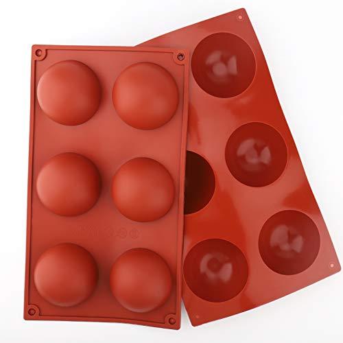 Wiestoung Halbkugel Silikonform mit 6 Hohlräumen,für Schokolade, Kuchen, Gelee, Kuppel-Mousse-Tabletts, antihaftbeschichtete Silikonformen-2 Stücks