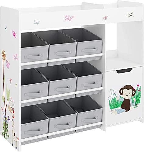 Kinderzimmerregal multifunktionale Aufbewahrungsregal Spielzeug-Organizer für Kinder mit 9 Aufbewahrungsboxen Kinderzimmer Schlafzimmer weiß