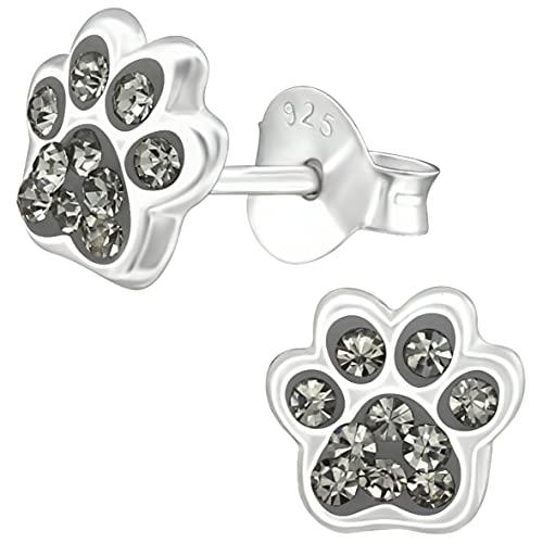 miimago Pendientes infantiles con diseño de huellas de perro, plata de ley 925, cristales...