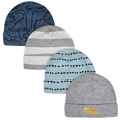 Gerber Baby Boys' 4-Pack Caps, Dinosaur Blue, 0-6 Months