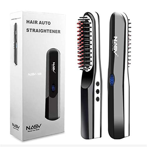 Beard Straightener Brush, Beard straightening Comb with Cordless,Anti Scald,Auto Shut Off,Silky Straight,2 in 1 Multifunctional Frizz-free Portable Comb Curling Iron for Men
