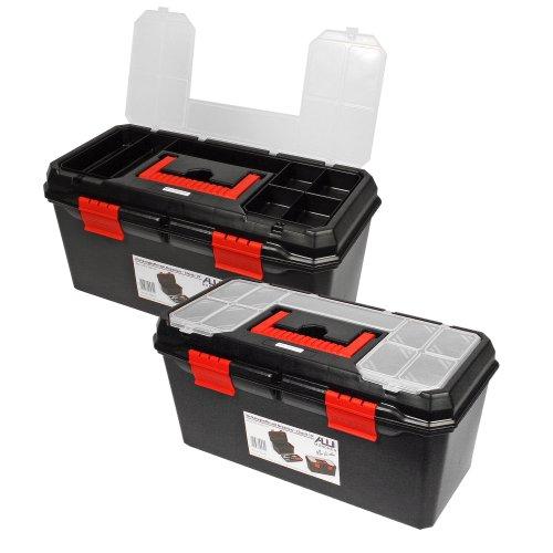 Alutec 56270 Werkzeugkasten unbestückt Kunststoff Schwarz, Orange