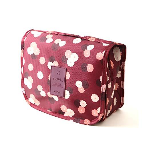 ロジック トイレタリーバッグ トラベルポーチ 吊り下げ [大容量収納 旅行・出張時に便利] 化粧品・小物入れ (全3色) 花柄×レッド