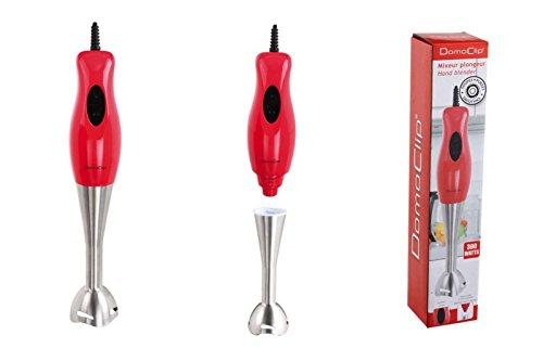 Stabmixer Edelstahl Pürierstab 300 Watt Hand-Mixer (Zerkleinerer, Mixstab, Turbofunktion, Abnehmbarer Fuß, Rot)
