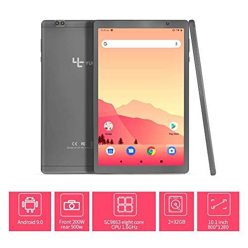 Yuntab Tablet D107 PC 10,1-Zoll-Acht-Core 2 + 32 GB Android 9.0, Dual-Kamera Google Play G-Sensor Bluetooth (Gray)