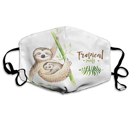 Bequeme Winddichte Maske, Faultier, Mutter und Tierbabys Familienglück Aquarell Boho Tropical Elements, Hellbraun Grün