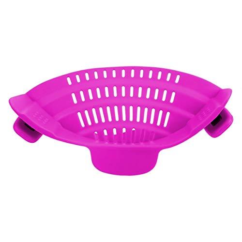 SDHF Silikon-Küchensieb, Entwässern überschüssiger Flüssigkeit Clip Pan Abfluss Rack-Bowl-Trichter-Kochgeschirr Reis Nudeln Gemüsewasch Seiher (Farbe : PURPLE, Size : One Size)